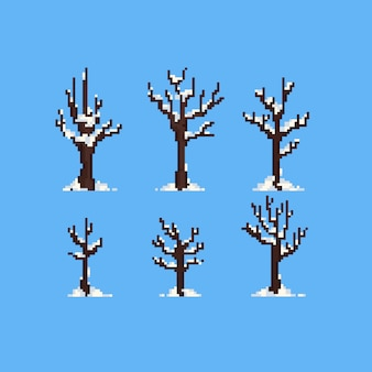 Piksel zimowe drzewa ze śniegiem.
