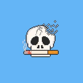 Piksel złamana czaszka z papierosem. 8 bitowy. bez dnia tytoniu.