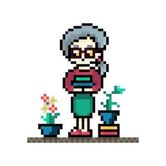 Pikselowa babcia z książkami i roślinami na postaci doniczki z kucykiem