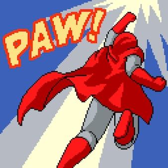 Pikselowa grafika komiksowego ataku superbohatera