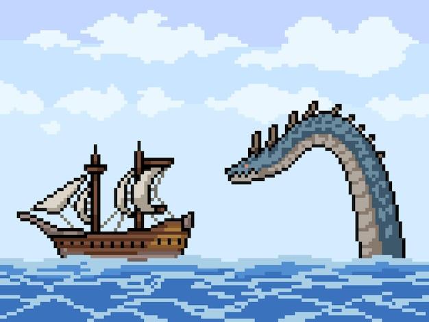 Pikselowa grafika morskiego potwora ścigającego statek