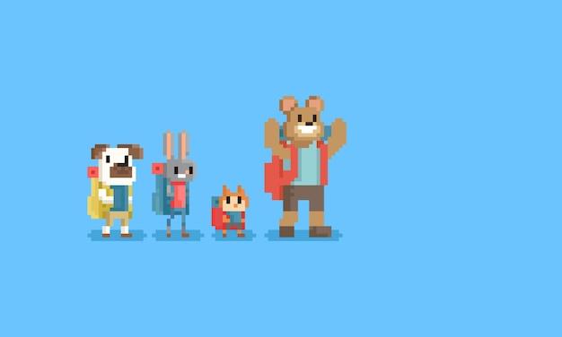 Pikselowa grupa turystycznych zwierząt character.8bit.