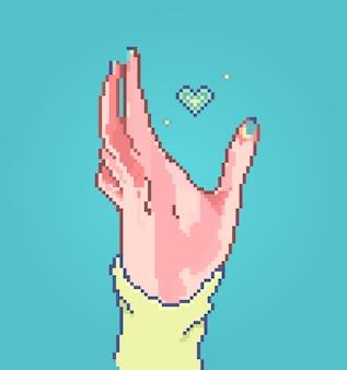 Pikselowa kobieca ręka jasny styl paznokci kolorowa ilustracja