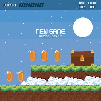 Pikselowa krajobrazowa sceneria gier wideo