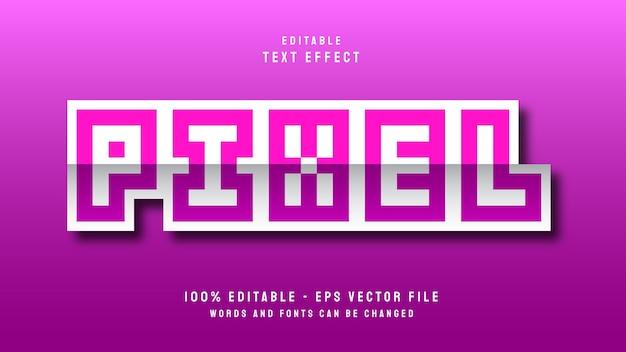 Pikselowa litera z edytowalnym szablonem efektu tekstowego w stylu naklejki 3d