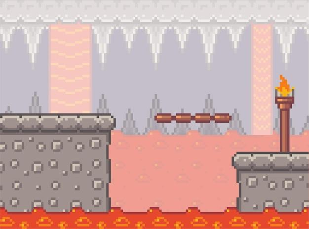 Pikselowa scena gry z betonowymi plarformami