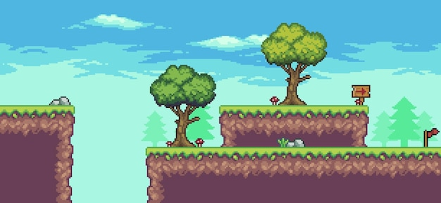 Pikselowa scena zręcznościowa z drzewami, chmurami, deską, kamieniami i flagą