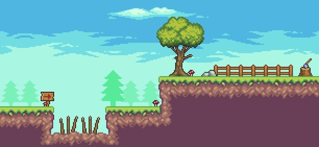 Pikselowa scena zręcznościowa z drzewami, płotem, cierniami, chmurami, kamieniami i flagą
