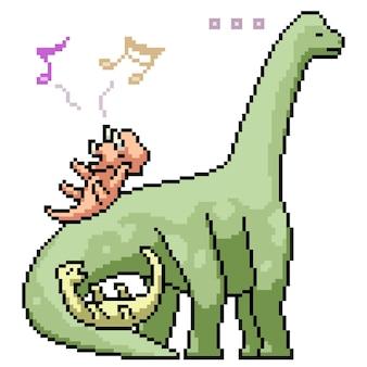 Pikselowa sztuka bawiącego się dinozaura