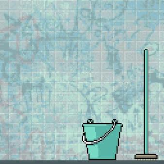 Pikselowa sztuka brudnej toalety publicznej