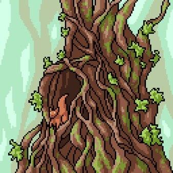 Pikselowa sztuka domku na drzewie wiewiórki