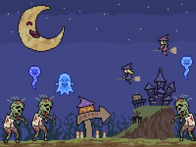 Pikselowa sztuka halloweenowej imprezy