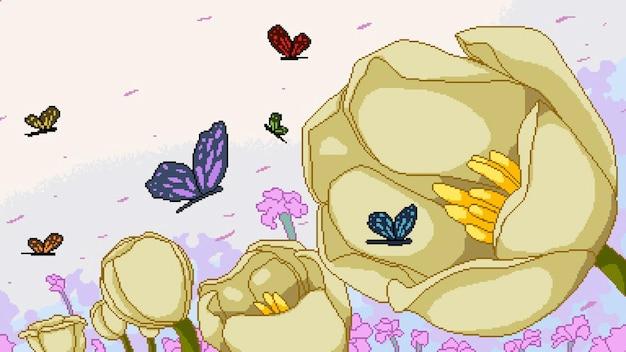 Pikselowa sztuka ogrodu kwiatowego
