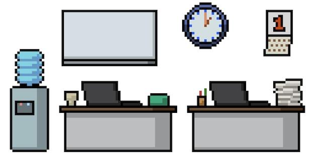 Pikselowa sztuka pokoju do pracy w biurze