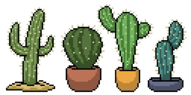 Pikselowa sztuka zestawu dekoracji kaktusa