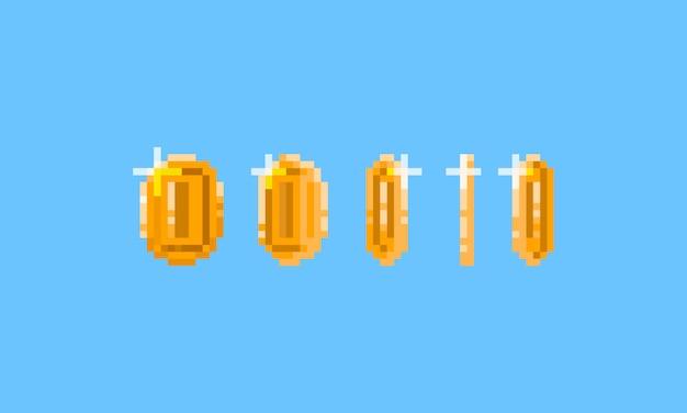 Pikselowa złota moneta. element gry. 8 bitowy.
