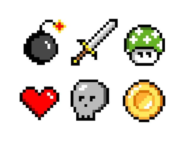 Pikselowe ikony kolorowe wektor ilustracja miecz i kula armatnia czaszka i moneta grzyb i serce