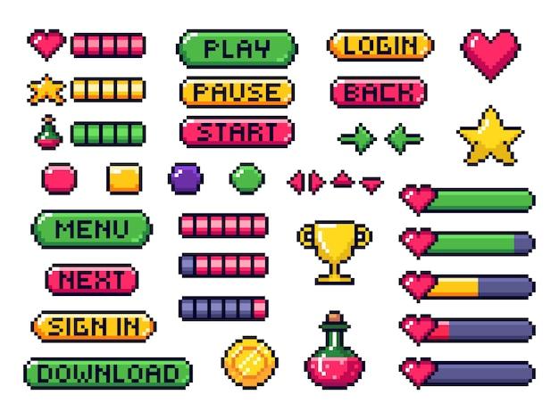 Pikselowe przyciski gry. interfejs gry, strzałki kontrolera gier i zestaw przycisków 8 bitowych pikseli