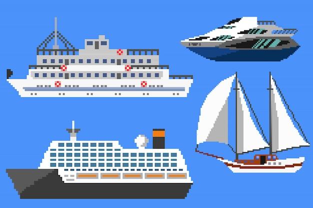 Pikselowe statki pasażerskie i łodzie