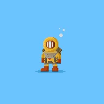 Pikselowy nurek głębinowy w żółtym kolorze
