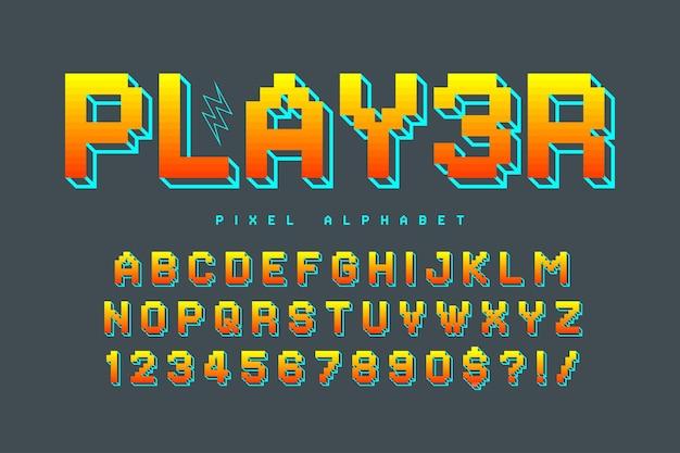 Pikselowy projekt alfabetu wektorowego, stylizowany jak w grach 8-bitowych. wysoki kontrast i ostry, retro-futurystyczny. łatwa kontrola koloru próbki. efekt zmiany rozmiaru.