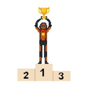 Pikselowy samochód wyścigowy ze złotym trofeum i medalem na postaci ludzi na podium