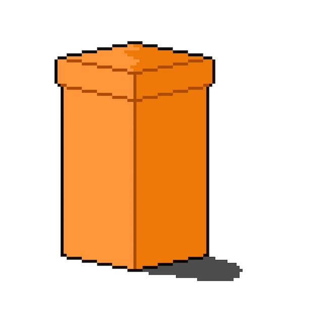 Pikselowy styl wysokiego pudełka dostawczego z nasadką