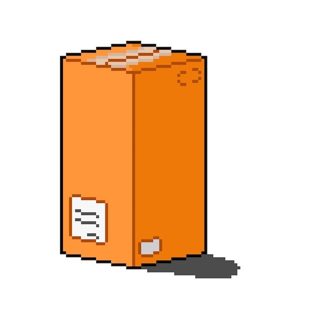 Pikselowy styl wysokiego pudełka dostawczego ze znakiem adresu