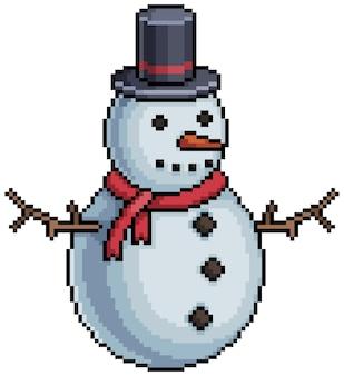 Pikselowy świąteczny bałwanek kawałek gry na białym tle