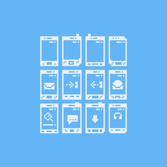 Pikselowy telefon z zestawem ikon powiadomień