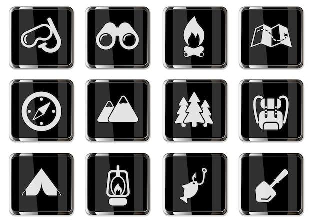 Piktogramy aktywnego wypoczynku i kempingu w czarnych chromowanych guzikach. zestaw ikon do projektowania interfejsu użytkownika