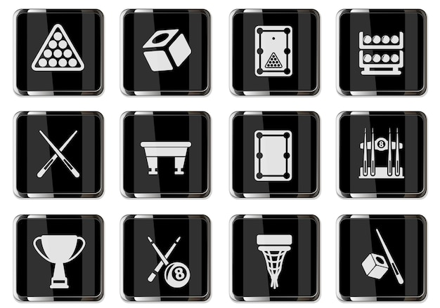 Piktogramy bilardowe w czarnych chromowanych guzikach. zestaw ikon dla swojego projektu. ikony wektorowe
