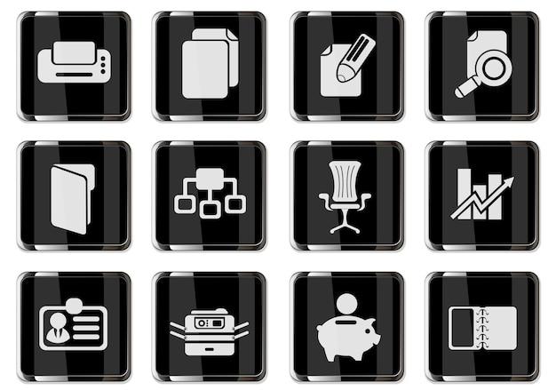 Piktogramy biznesowe w czarne chromowane przyciski. zestaw ikon dla swojego projektu. ikony wektorowe