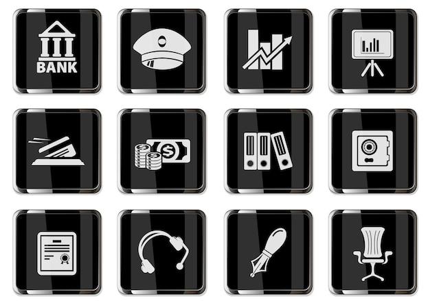 Piktogramy finansów w czarne chromowane przyciski. zestaw ikon dla swojego projektu. ikony wektorowe