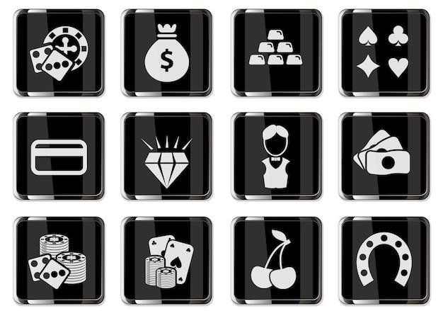 Piktogramy kasyna w czarnych chromowanych przyciskach. zestaw ikon wektorowych do projektowania interfejsu użytkownika