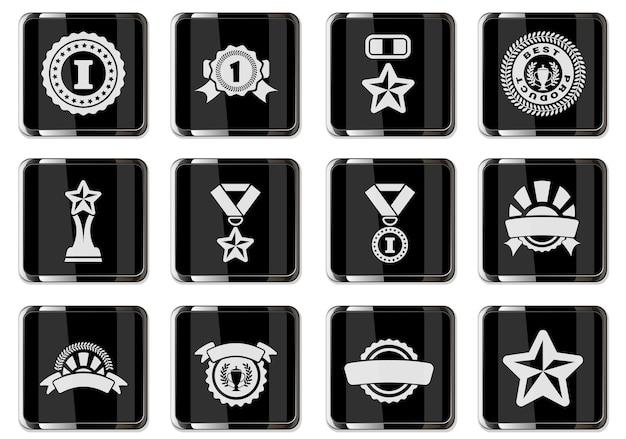 Piktogramy nagród z czarnymi chromowanymi guzikami. zestaw ikon na białym tle do projektowania interfejsu użytkownika. ilustracja wektorowa