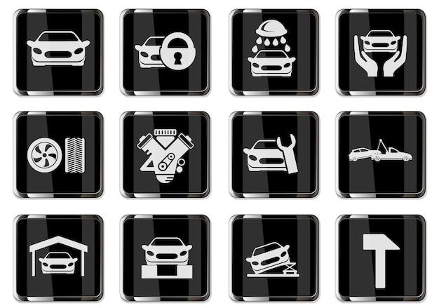 Piktogramy serwisów samochodowych w czarne chromowane przyciski. zestaw ikon dla swojego projektu. ikony wektorowe