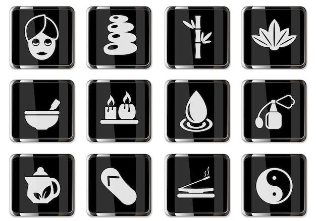 Piktogramy spa w czarnych chromowanych przyciskach. zestaw ikon dla swojego projektu. ikony wektorowe