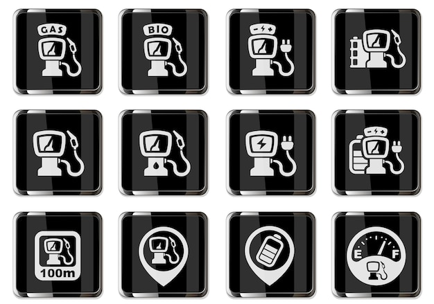 Piktogramy stacji tankowania samochodów z czarnymi chromowanymi guzikami. zestaw ikon wektorowych do projektowania interfejsu użytkownika