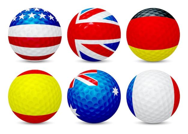 Piłeczka golfowa z flagą francji, usa, australii, wielkiej brytanii, hiszpanii i niemiec, na białym tle.