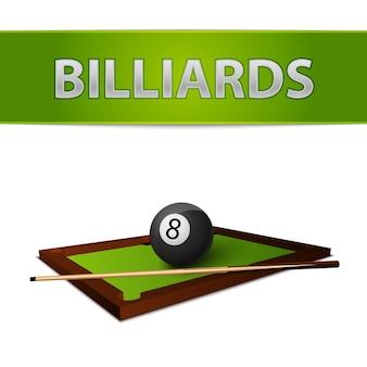 Piłka bilardowa z kijem na emblemacie zielonego stołu