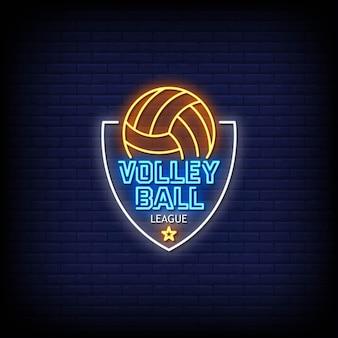 Piłka do siatkówki league logo neonowe znaki
