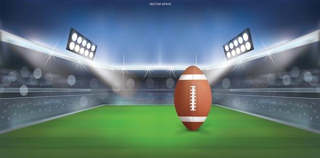 Piłka futbolowa na tle stadionu futbolu amerykańskiego. ilustracja wektorowa.