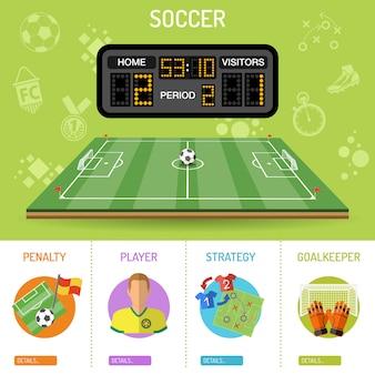 Piłka nożna banner i infografiki