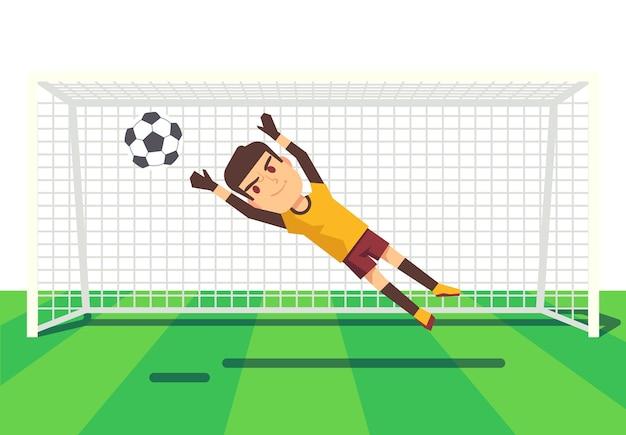 Piłka nożna bramkarz łapie balową ilustrację
