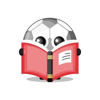 Piłka nożna czytająca książkę urocza maskotka postaci