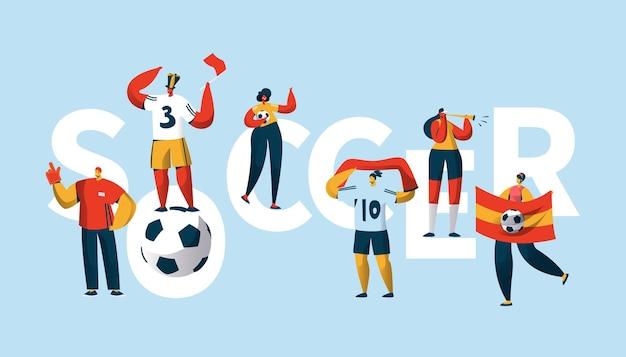 Piłka nożna fan znaków doping zespołu typografia transparent.