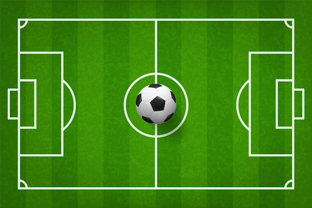 Piłka nożna futbolowa piłka na zielonej trawy polu.