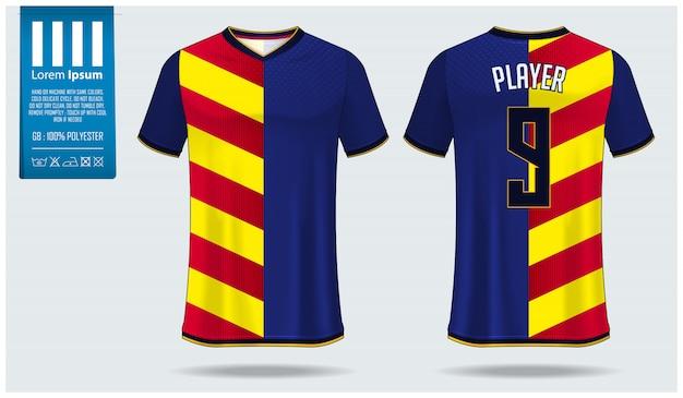 Piłka nożna jersey lub piłka nożna zestaw makieta szablon projektu