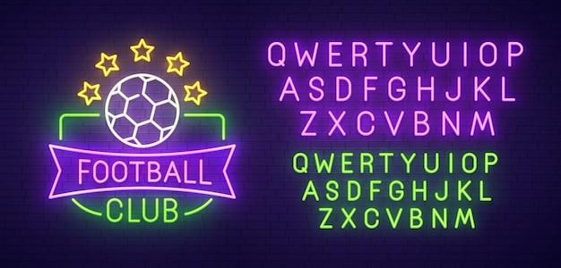 Piłka Nożna Klub Neon Znak Premium Wektorów
